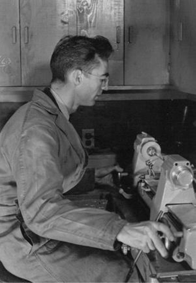 Charles V. Litton at glass lathe, ca. 1936Source: Courtesy of Litton Engineering Laboratories