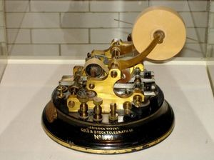 The Universal Stock Ticker developed by Thomas Edison in 1869 used alphanumeric characters with a printing speed of approximately one character per second.