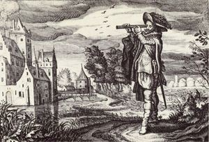 Early depiction of a 'Dutch telescope' from the Emblemata of zinne-werck of Johan de Brune. Middelburg, 1624.