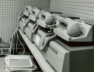 AT&T Dataphone, US, 1960. The Dataphone was used for relaying digital data across the public telephone network, connecting brokers at terminals to remote computers.