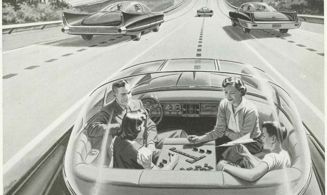 "Driverless Car of the Future, advertisement for ""America's Electric Light and Power Companies,"" Saturday Evening Post, 1950s. Credit: The Everett Collection."