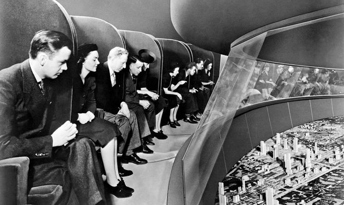 "General Motors Futurama exhibit, ""Highways & Horizons"" pavilion, New York World's Fair, 1939. Visitors rode for a third of a mile in audio-equipped chairs through the 35,738 square foot scale model of an imagined world of 1960, complete with automated highways. Sections included cities, countryside, and industrial areas. Credit: General Motors"