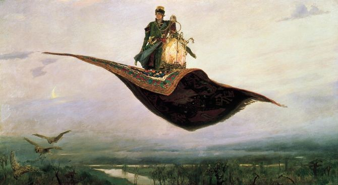 Flying Carpet, by Viktor M. Vasnetsov, 1880. By 130 BC, a magic carpet supposedly flew King Phraates II of Parthia to battle. Flying carpets have graced folktales from Russia to Iraq. They combine two once-fantastic dreams: autonomous vehicles, and flight. Credit: Wikimedia Commons