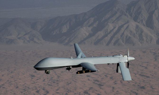 General Atomics MQ-1 Predator unmanned drone. The U.S. Air Force and CIA's infamous Predator has been used for surveillance since 1995, and for remote killing since 2001. The Predator is semi-autonomous, but its Hellfire missiles are fired only by a human operator. Credit: U.S. Air Force photo/Lt Col Leslie Prat
