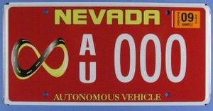 Nevada self-driving vehicle license plate, 2012. In 2012 Nevada issued this special license plate to Google for the very first registered self-driving car, marked with the infinity symbol. Credit: Photo by Wayne Wakefield, National Museum of American History, Smithsonian Institution