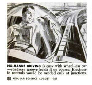 Illustration for Popular Mechanics article on automated highways, 1961. Credit: Popular Mechanics