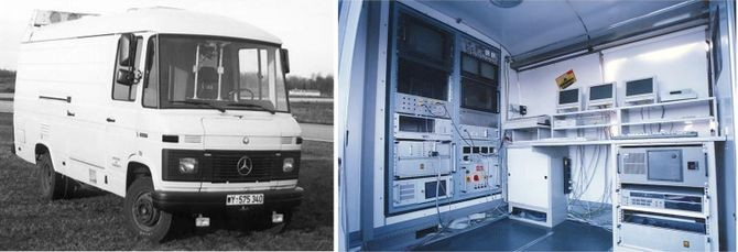 Ernst Dickmanns' VaMoRs Mercedes van, Bundeswehr University Munich, 1986-2003. Dickmanns' laboratory substantially pioneered practical self-driving technology; this van tested three generations of systems. Dickmanns' 1993 VaMP Mercedes sedan would cover thousands of miles in traffic at up to 110 mph as part of the massive Eureka PROMETHEUS project. Credit: © Ernst D. Dickmanns. All rights reserved. For more information: www.dyna-vision.de