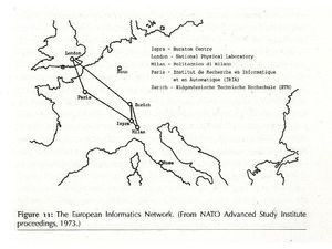 By the mid 1970s the European Informatics Network had set up internetworking between England's NPL network and France's CYCLADES network, with nodes in Italy and Switzerland. 