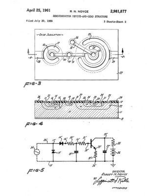 "Figures from Robert Noyce's planar IC patent, ""Semiconductor device-and-lead structure"""