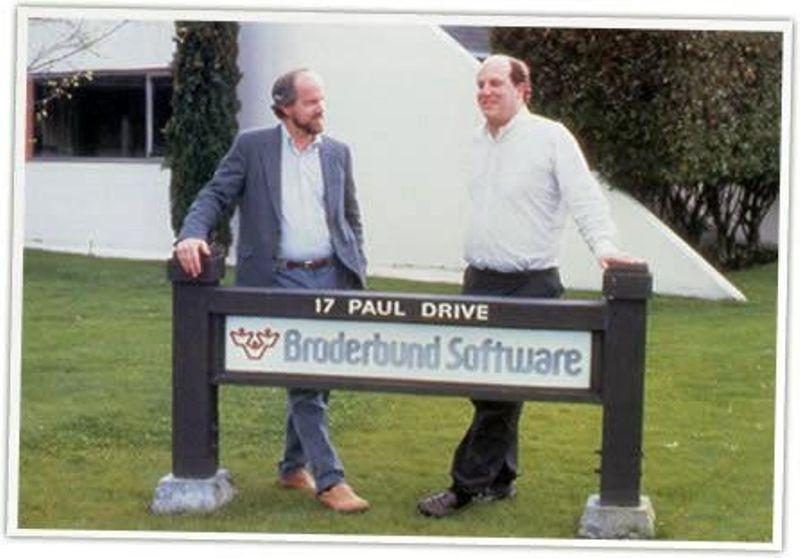 Brøderbund Co-founder Gary Carlston with Marc Canter from Macromind at Brøderbund Headquarters