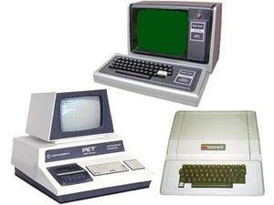 What was your first computer? Clockwise from top: Radio Shack TRS-80, Apple II, and Commodore Pet.