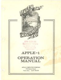 Apple - 1 operation manual