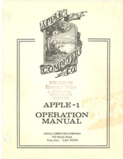 Apple - 1 operation manual