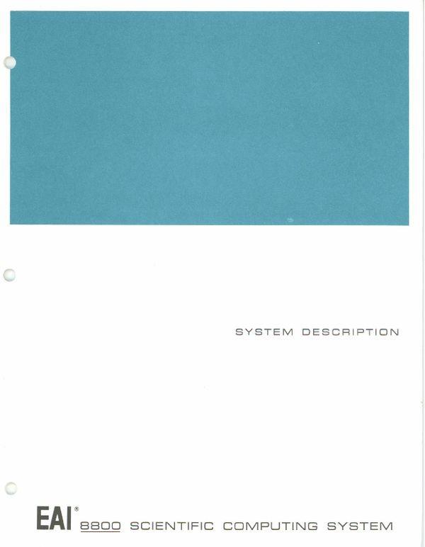 EAI 8800 Scientific Computing System System Description