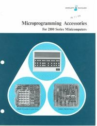 Microprogramming Accessories for 2100 Series Minicomputers