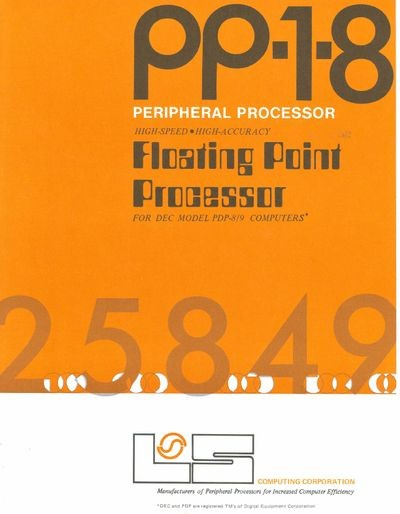 PP-1-8 Peripheral Processor High-Speed High-Accuracy Floating Point   Processor for DEC Model PDP-8/9 Computers