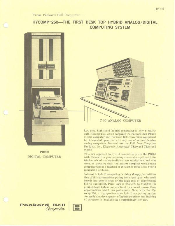 HYCOMP 250---The first desk top hybrid analog/digital computing system