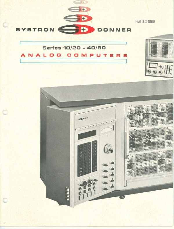Systron Donner Series 10/20 -40/80 Analog Computers