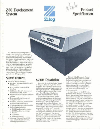 Zilog Z80 Development System Product Specification