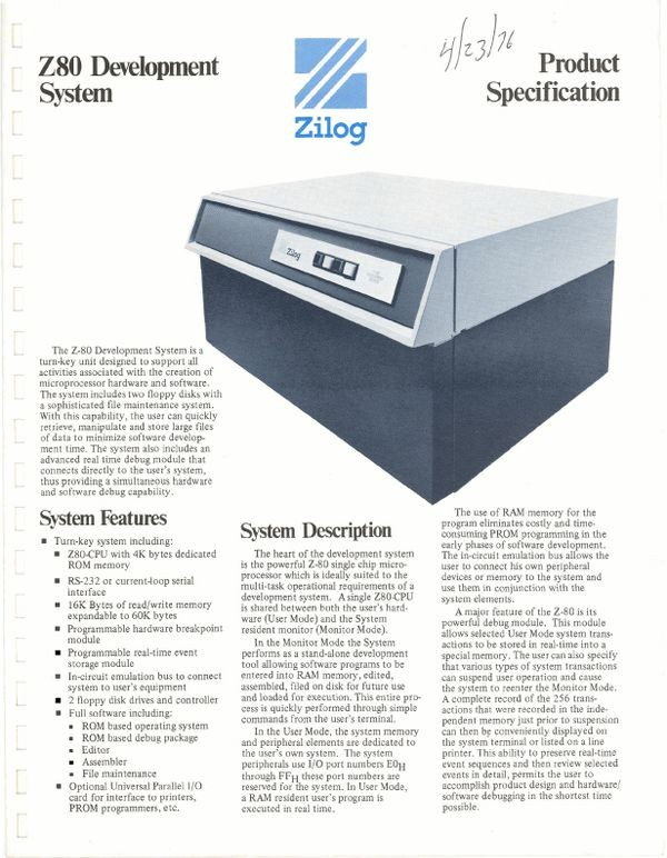 Zilog Z80 Development System Product Specification