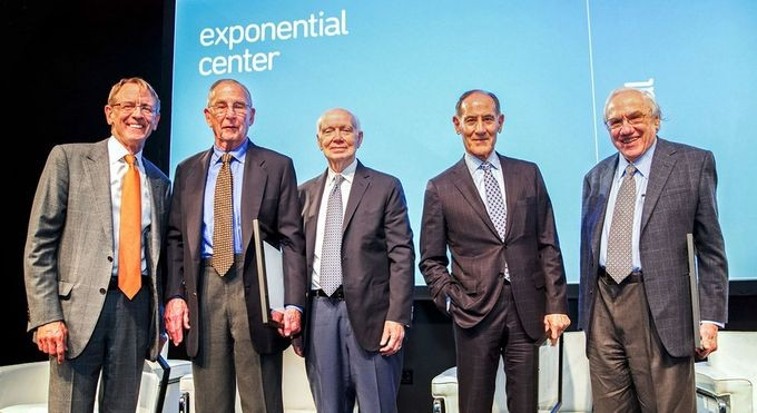 2016 Exponential Center honorees: John Doerr, Arthur Rock, Regis McKenna, Larry Sonsini, Jay Last, and Gordon Moore (not pictured)