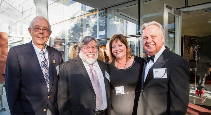 "Apple reunion: employee #14 Gene Carter, co-founder Steve and Janet ""Woz,"" and VP of Education John Couch"