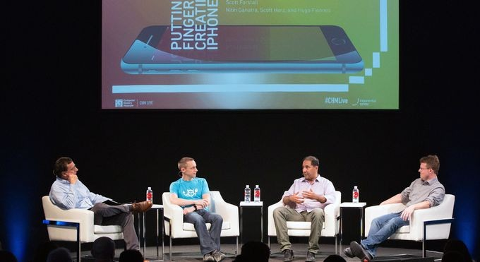 Original iPhone team members Hugo Fiennes, Nitin Ganatra, and Scott Herz share stories with John Markoff.