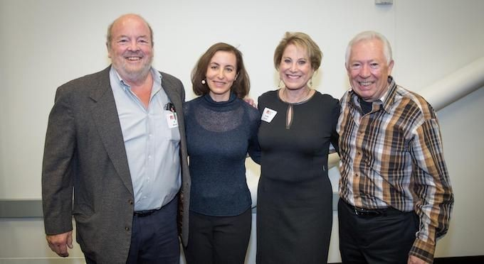"""Troublemaker"" Al Alcorn joins author Leslie Berlin and fellow ""Troublemakers"" Sandy Kurtzig and Mike Markkula at a core circle reception prior to the show."