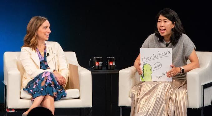 "Floodgate Venture Capitalist Ann Miura-Ko shares her ""one word"" with Task Rabbit Founder Leah Busque and the audience"