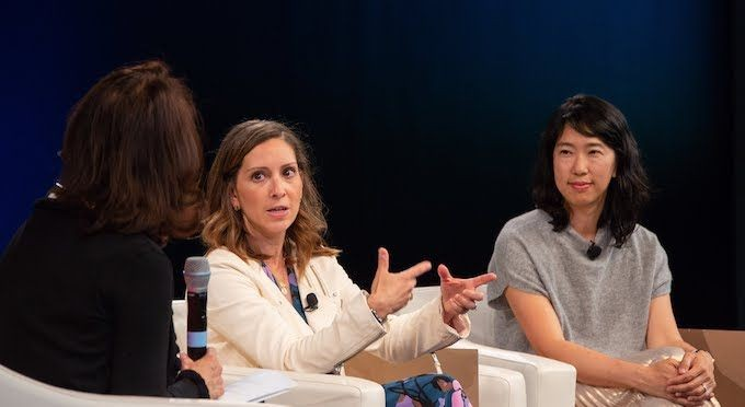 Task Rabbit Founder Leah Busque responds to Marguerite Gong Hancock as Floodgate Venture Capitalist Ann Miura-Ko listens