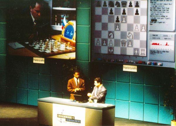 Maurice Ashley and Yasser Seirawan analyzing gameplay during Deep Blue vs. Kasparov re-match in New York City, New York