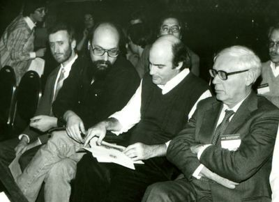 Beal, Thompson, Newborn, and Botvinnik at 4th World Computer Chess Championship in New York City, New York