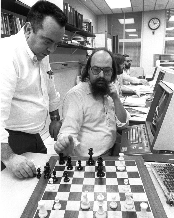 Ken Thompson (right) and Joe Condon, designers of Belle--a dedicated chess-playing machine