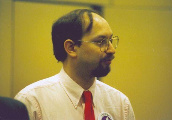 International Grandmaster and Deep Blue project consultant Joel Benjamin at the 1996 Deep Blue vs. Kasparov match in Philadelphia, Pennsylvania