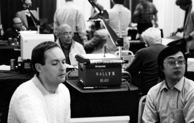 Hans Berliner (rear), Murray Campbell (front, left) and Feng-Hsiung Hsu at the 20th annual ACM Computer Chess Championship in Reno, Nevada