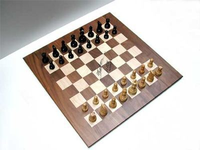Chess board and pieces used in the 1996 Kasparov vs. Deep Blue match,