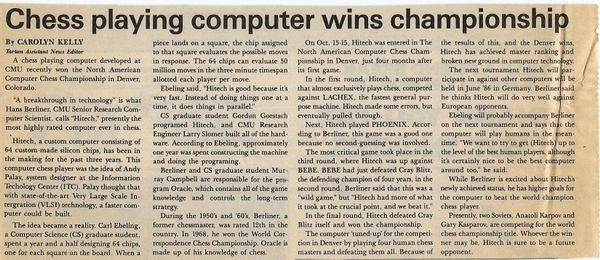 Chess Playing Computer Wins Championship