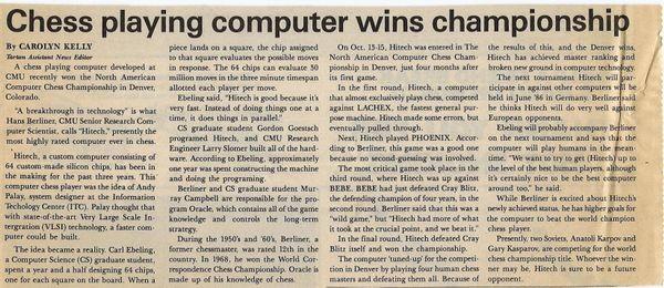 Chess Playing Computer Wins Championship