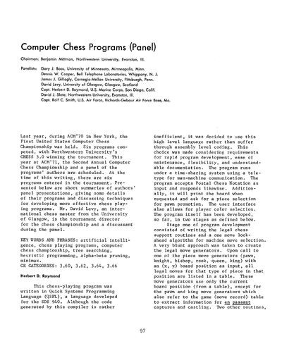 Computer Chess Programs (Panel)
