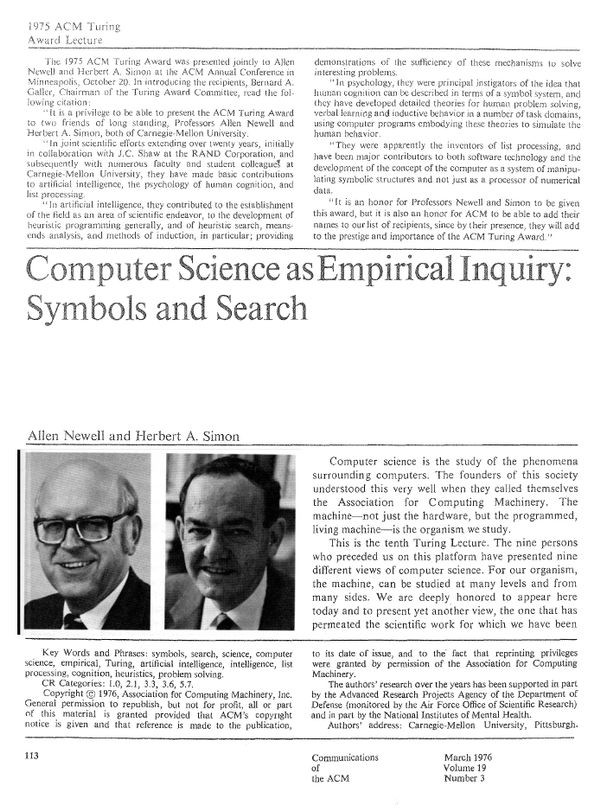 Computer Science as Empirical Inquiry: Symbols and Search
