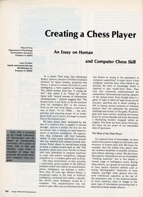 Creating A Chess Player