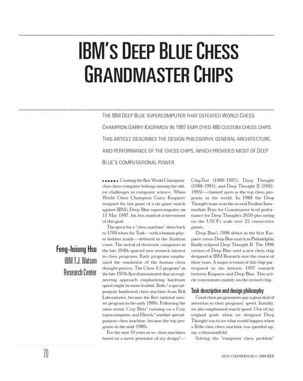 IBM's Deep Blue Chess Grandmaster Chips