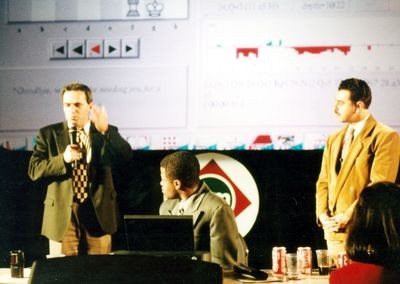 Garry Kasparov and Yasser Seirawan at 1996 Deep Blue vs Kasparov match in Philadelphia, Pennsylvania