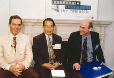 Garry Kasparov, C.J. Tan, and Monroe Newborn at the 1997 Deep Blue vs Kasparov re-match press conference