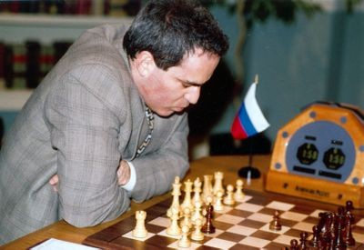 Garry Kasparov during Game 4 of the Deep Blue vs. Kasparov re-match in New York City, New York
