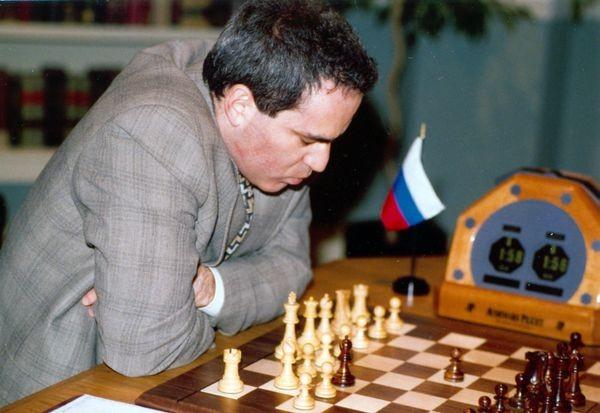 Garry Kasparov during Game 4 of the Deep Blue vs. Kasparov re-match in New York City, New York