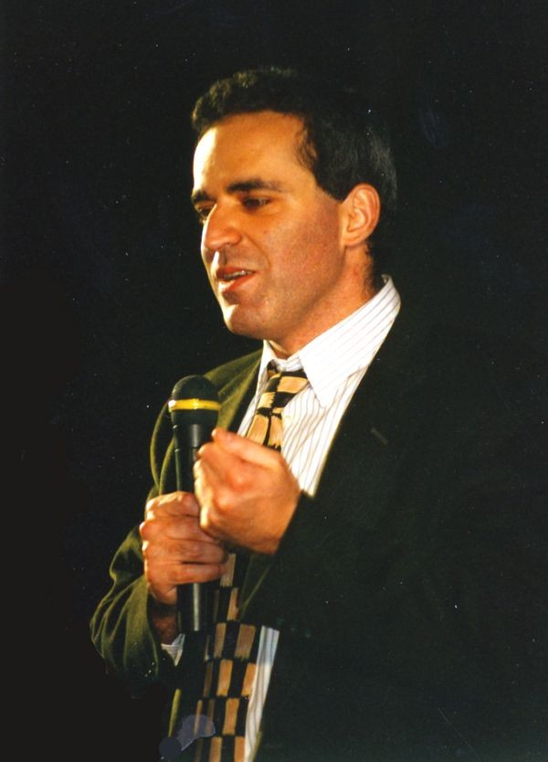 Garry Kasparov discusses game highlights after he wins the 1996 match against Deep Blue in Philadlephia, Pennsylvania