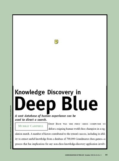 Knowledge Discovery in Deep Blue