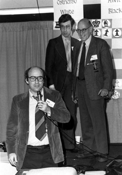 Monroe Newborn, David Levy, and Ben Mittman at the 10th ACM North American Computer Chess Championship in Detriot, Michigan