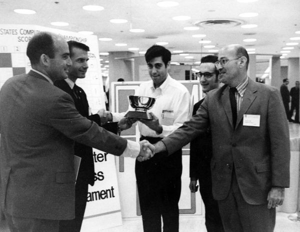 Newborn, Matsa, Slate, Atkin, and Mittman at the 1st North American Computer Chess Championship, New York City, New York